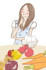食材と考える女性