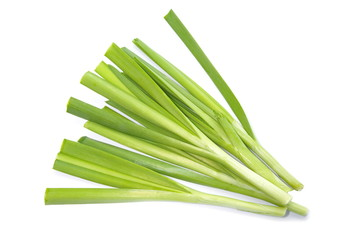 Fresh green leek isolated on white background