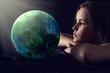 Leinwanddruck Bild - Teen girl with planet earth.