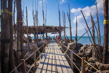 Wooden bridge to the island on Koh Phangan