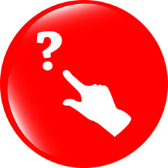 Question mark sign icon with people hand. Help symbol. FAQ sign