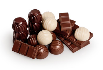 Chocolate on white background. Candy. Collection.