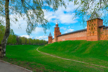 Novgorod Kremlin on the mountain and the moat