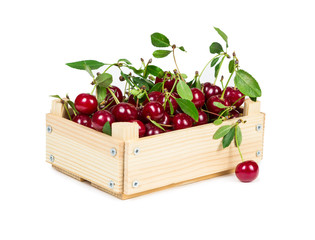 Cherries in wooden box