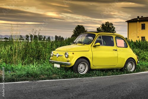 Poster Small vintage italian car Fiat Abarth