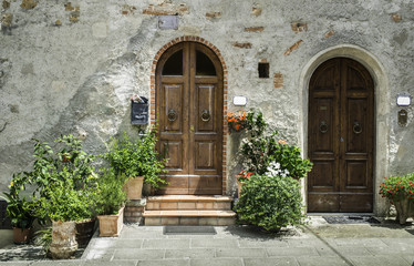 Vintage italian houses with flowers