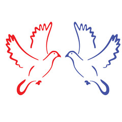Icon two colored pigeons. Raster