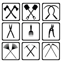 Black Icons garden tools within the square. Raster