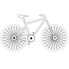 White bicycle icon. Raster.