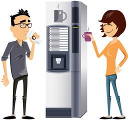 perso tertiaire moderne à la machine à café