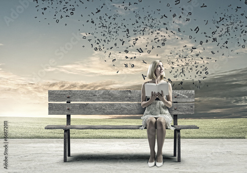 canvas print picture Girl with book