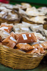 Greek spices with price tags closeup on market table