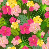 Tropical repetitive pattern vector poster