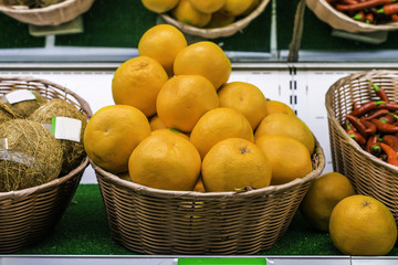 Fruits and vegetables on a supermarket shelf