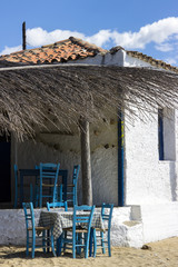 typical Greece tavern on the beach in the Peloponnese