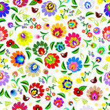 Traditional Polish repetitive folk floral pattern vector poster