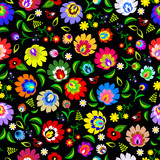 Fototapety Traditional Polish repetitive folk floral pattern vector
