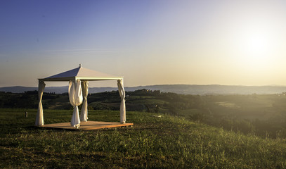 White gazebo in a mountain