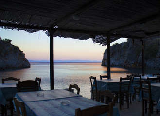typical tavern on the beach in the Peloponnese