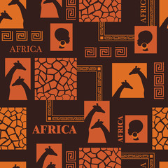 Seamless pattern with skin of giraffe and ethnic simbols.