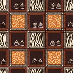 Seamless pattern with skin of wild animals .