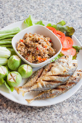 Thai chili paste with mackerel and vegetable