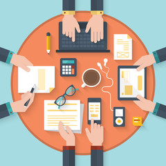 Flat icons for business innovation and meeting