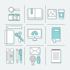 Flat thin line icons for school and young lifestyle