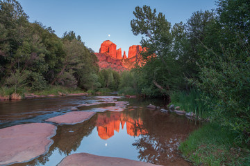 Cathedral Rock Moonrise Reflection