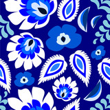 Blue floral folk Polish, Russian, repetitive pattern vector poster
