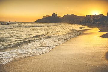 Warm Sunset on Ipanema Beach with People, Rio de Janeiro, Brazil