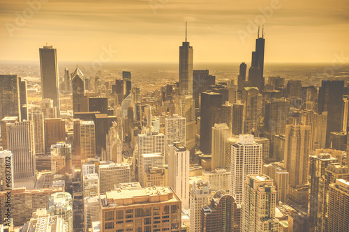 Spoed canvasdoek 2cm dik Luchtfoto Chicago Skyline Aerial View