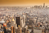 Aerial view of Manhattan skyline at sunset, New York City