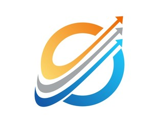 globe finance success,logo business,arrow graph media symbol