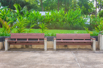 Wooden benches in park