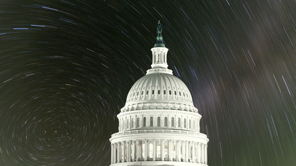 United States Capitol with Time Lapse Stars