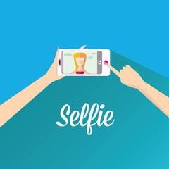 Taking Selfie Photo on Phone . vector illustration