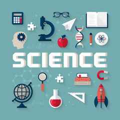 Flat icons for science research and study