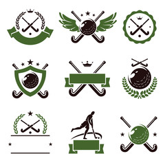 Hockey field labels and icons set. Vector