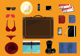 Travel and Holiday Planning His and Hers Flat Icons Set