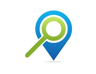discover map logo,magnifying glass,share business travel
