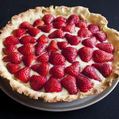 Tarte aux fraises avec sa crème pâtissière