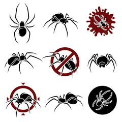 Spider set. Vector