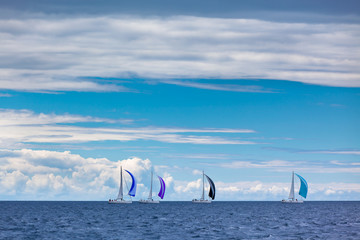 Yacht Regatta at the Adriatic Sea in windy weather
