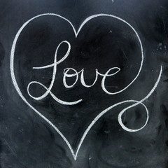 """Love"" Decorative Heart on Blackboard (valentine's day chalk)"