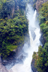 Pailon del Diablo - Mountain river and waterfall in the Andes.