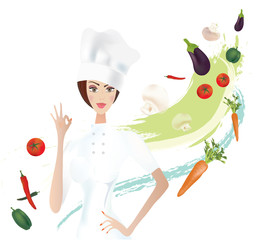Chef showing Ok Gesture with Vegetables. Vector Set