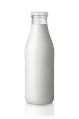 Milch Flasche isoliert auf weißem Hintergrund