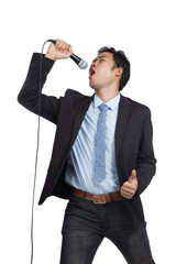 Asian businessman happy  sing a song