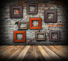 frames on weathered wall